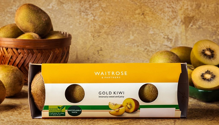 U.K.: Supermarket trialing linerless packaging for gold kiwifruit